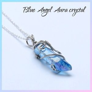 Blue angel aura healing crystal wire wrap necklace